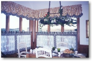 Cafe Curtains using material and lace